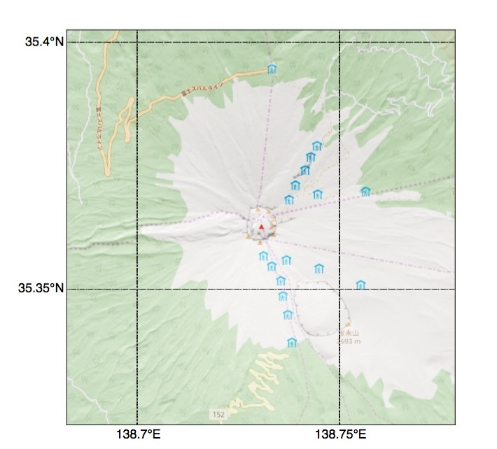 Python Basemapで描く富士山拡大地図