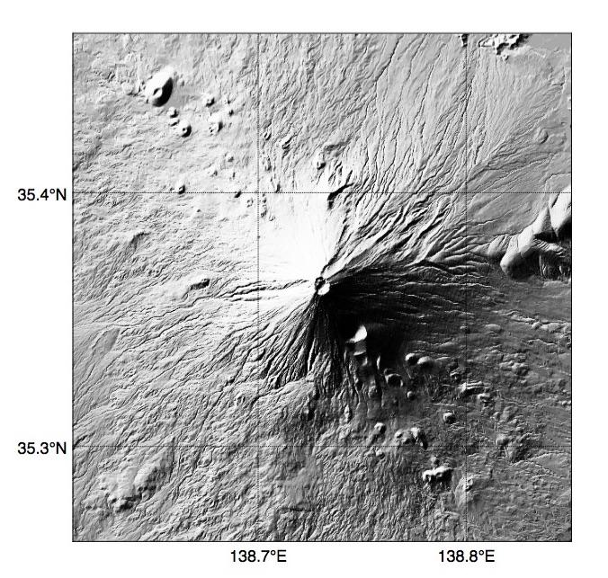 Pythonで描いた富士山の陰影起伏地図