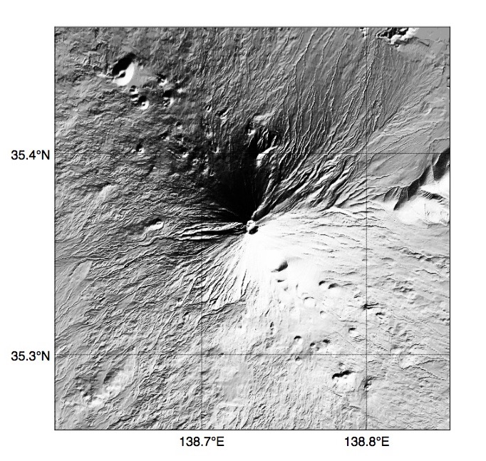 Pythonで描いた富士山の陰影起伏地図(その2)