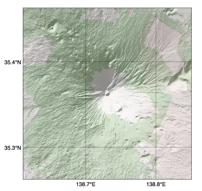 Pythonで描いた富士山の陰影起伏地図(その3)
