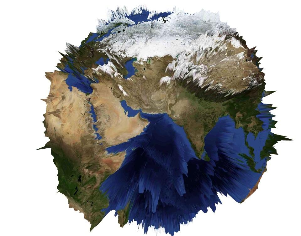 GeoElevationGridで山が浮き出る地球儀を描いてみる