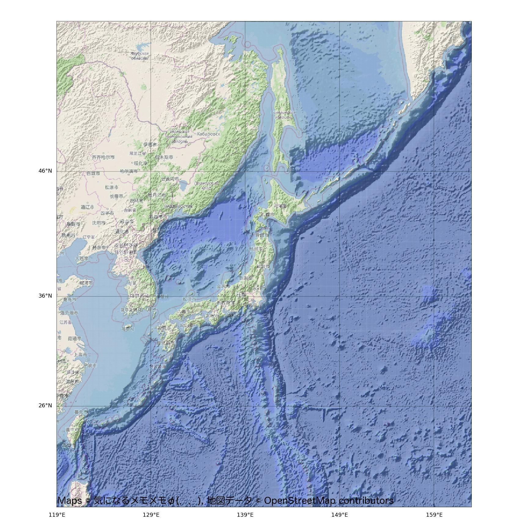 ETOPO1とOpenStreetMapで作るコピーフリーの海底地形図付き日本地図