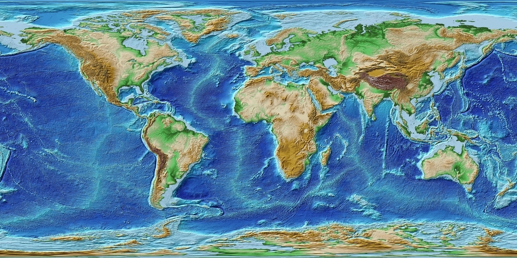ETOPO1で地球の全体の陰影段彩図を描いてみ