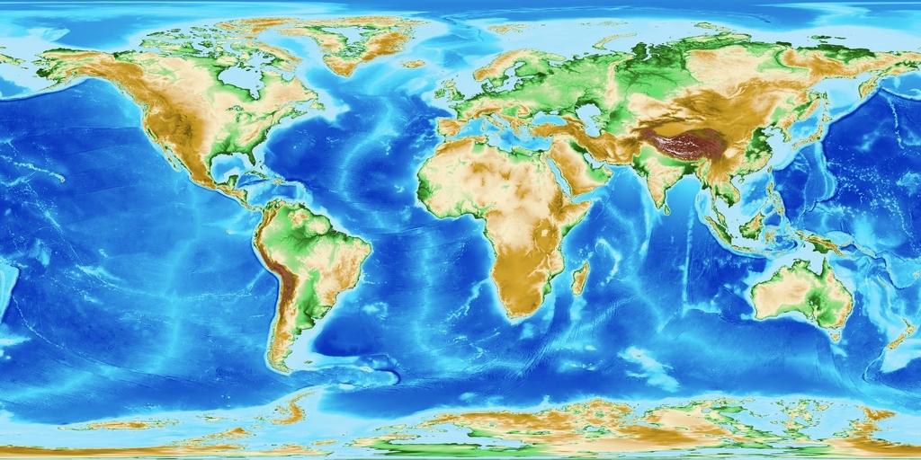 EPOTO1で作成した地球全体の高度段彩図