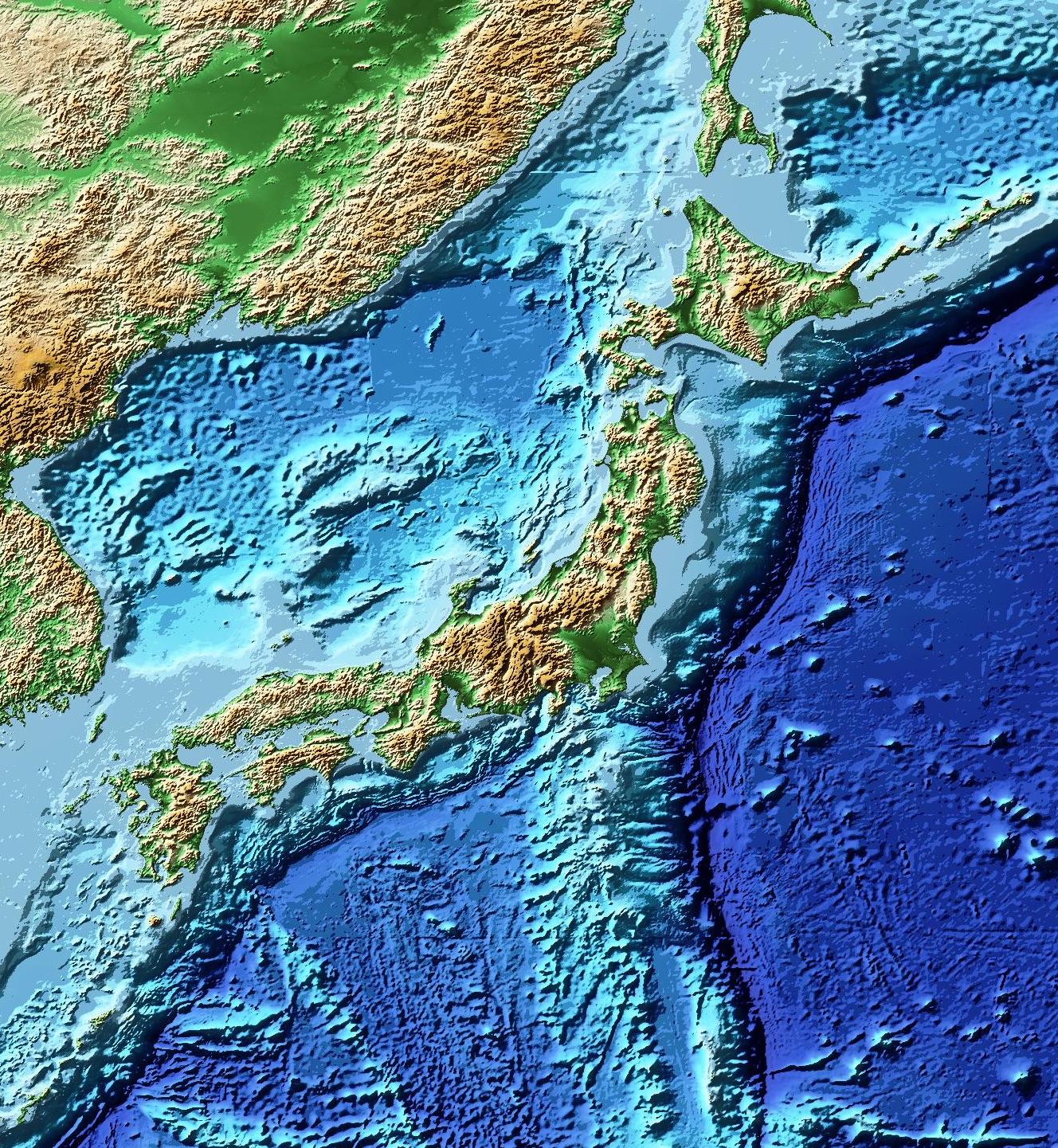 ETOPO1で作成した日本周辺の陰影段彩図