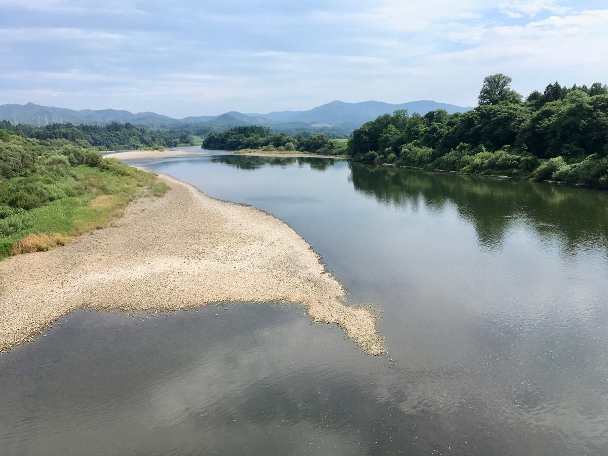 水沢付近の北上川