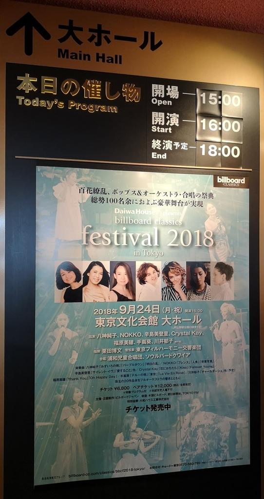 Billboard Classics Festival2018 in 東京のポスター
