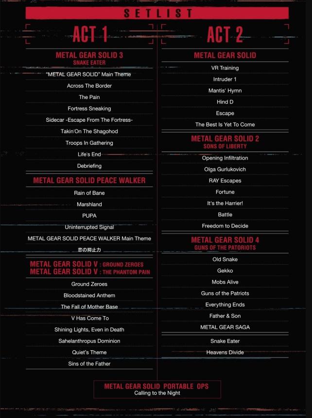 メタルギアコンサートのセットリスト