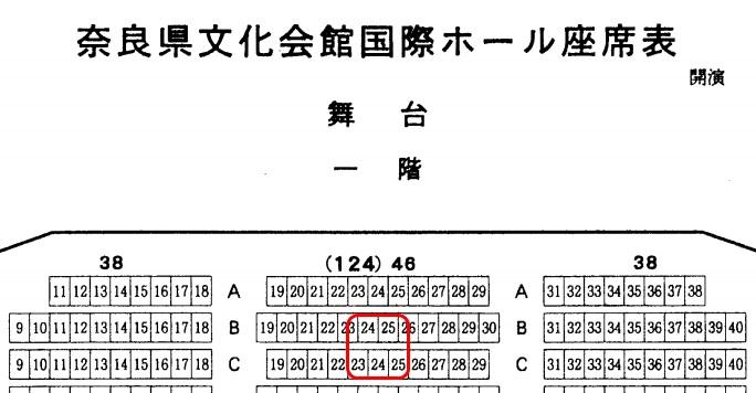 奈良県文化会館の座席表