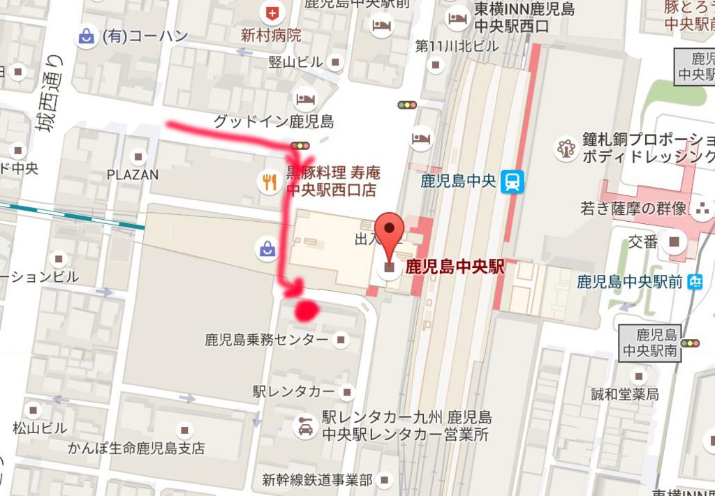 ビックカメラ鹿児島中央駅店の駐輪場の地図