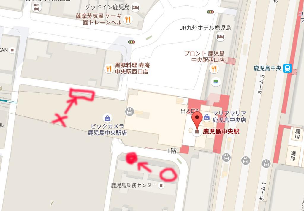 ビックカメラ鹿児島中央駅店の駐輪場の地図の寄ったやつ