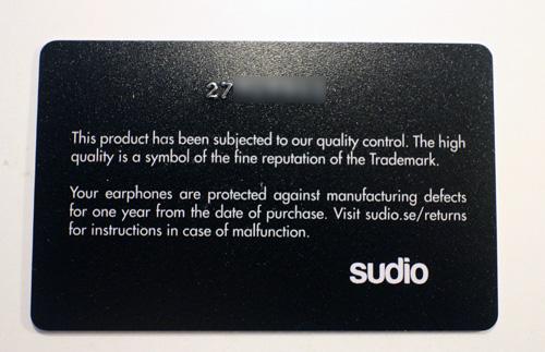SudioのVasaを買うとシリアルカードがついてきます