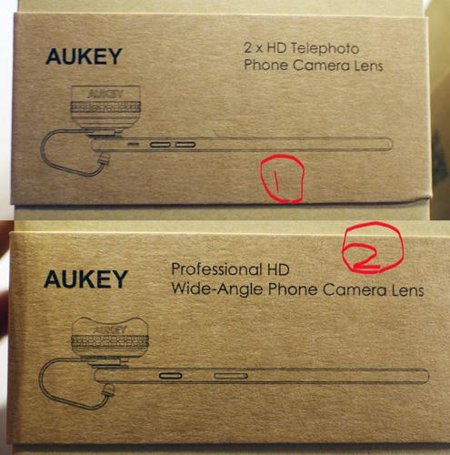 Aukeyのスマホ用レンズの使い方が書いてある箱に付いてる帯