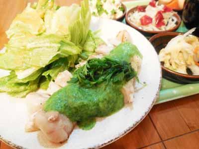 豚ロース肉のソテー春菊ソース