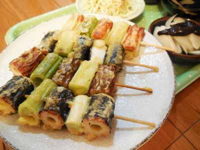 竹輪と葱の天串