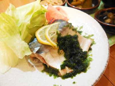 鯖の生青海苔レモンソース