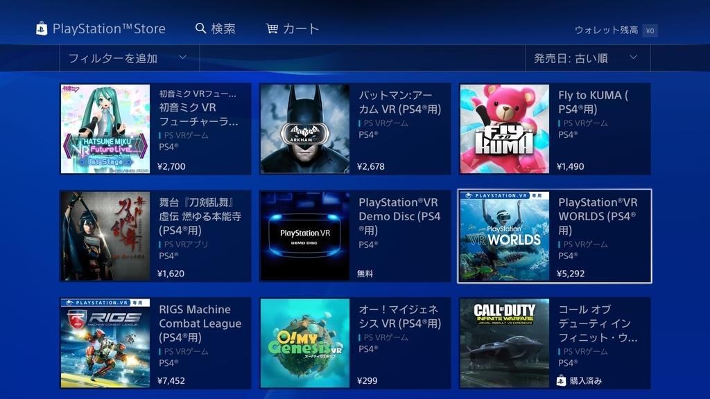 PlayStation VR WORLDSダウンロード版購入