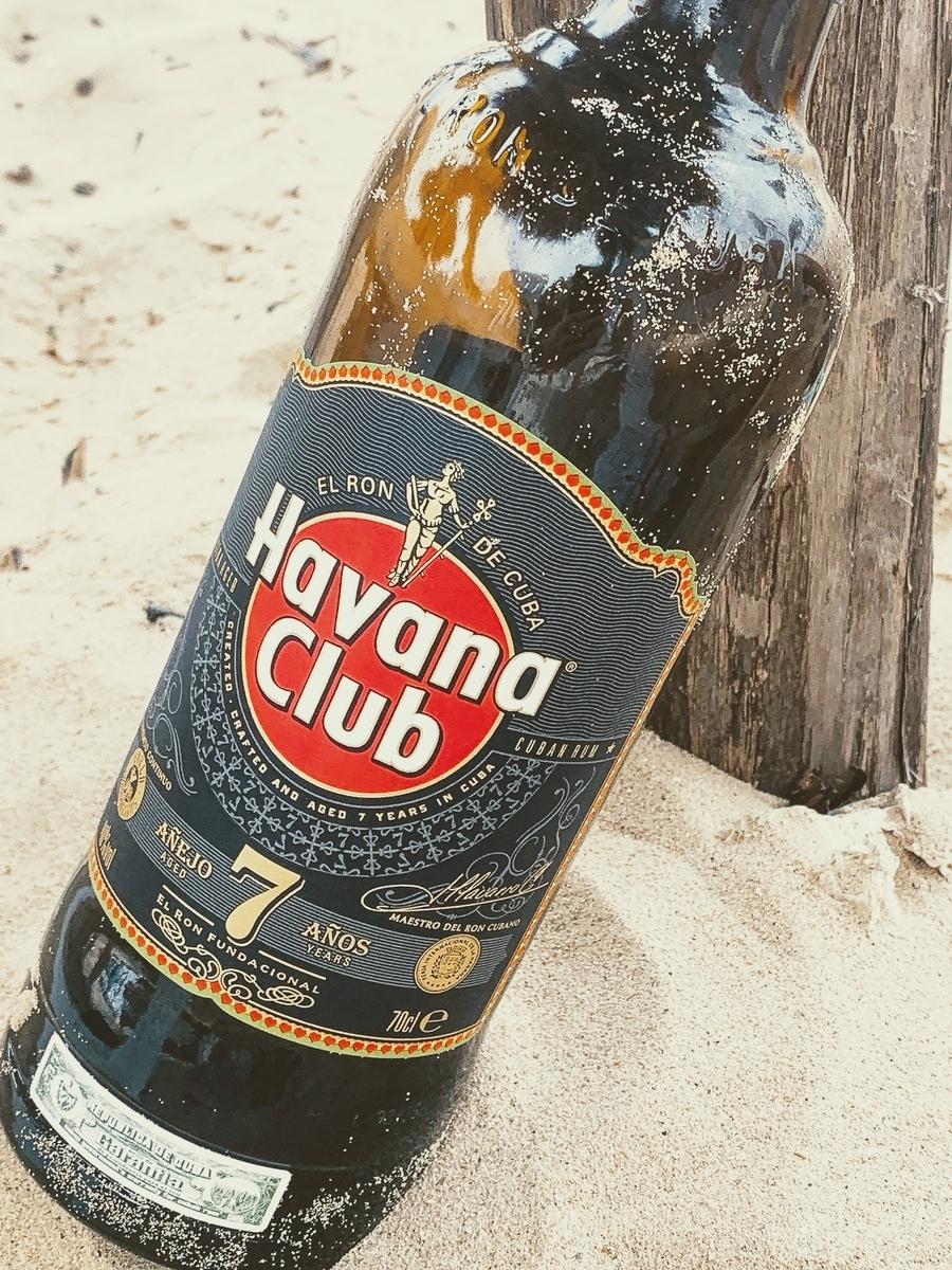 キューバのハバナクラブのボトル