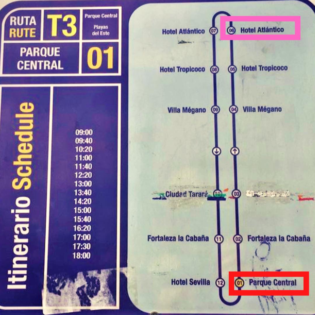 ハバナT3バスの時刻表