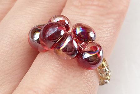 手作りビーズの指輪