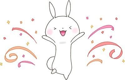ウルバト高順位に喜ぶウサギ
