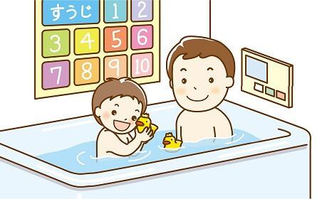 お風呂に入る父と子