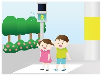 横断歩道を渡るこども
