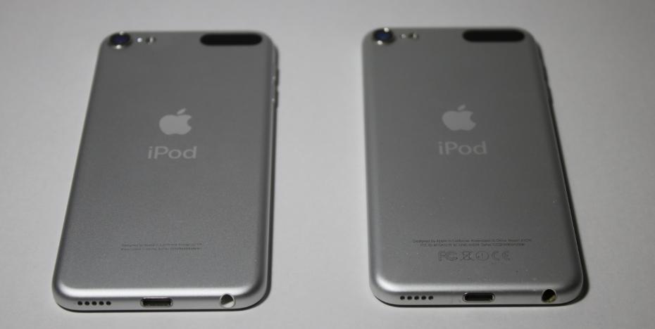iPod touch 第7世代(左)/第6世代(右) 比較(裏面)