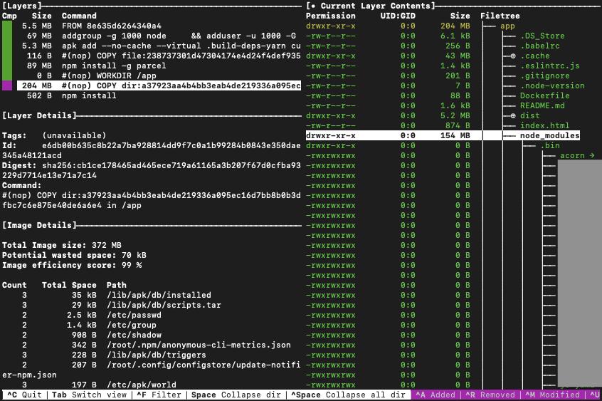 diveの画面4 node_modulesが154メガ