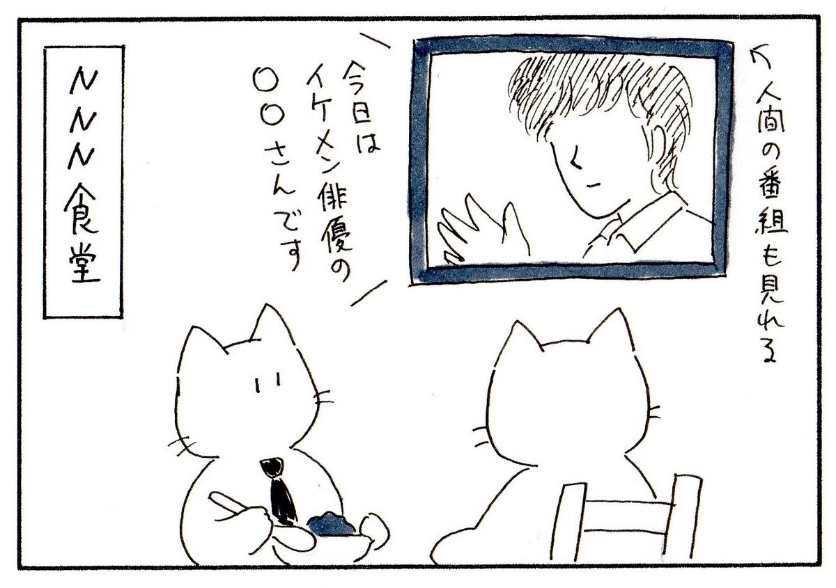 食堂でテレビを見る猫たち