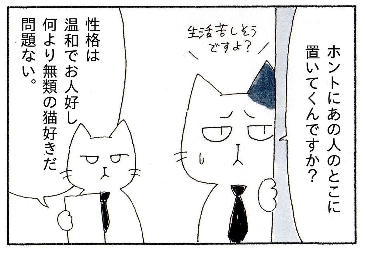 「本当にあの人の所に猫を置いていくんですか?」と不満そうなJと「性格は温厚でお人好し、何より無類の猫好きだから問題ない」と答えるK