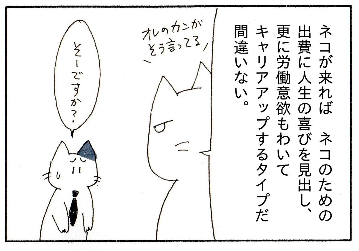「猫が来れば労働意欲もわいて更にキャリアアップするタイプだ」と自信満々のK