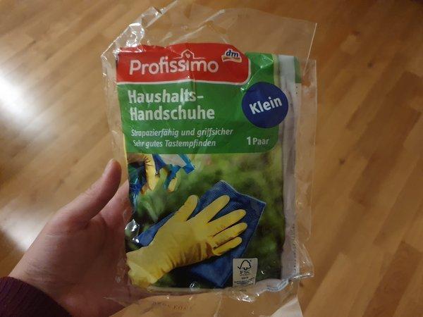 ドイツのdmで売られている黄色いゴム手袋