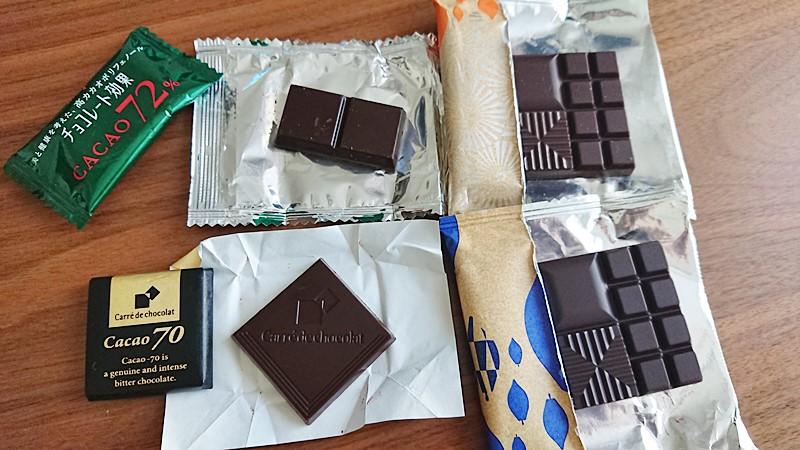 カカオ70%チョコレート比較森永カレドショコラ明治THECHOCOLATE明治チョコレート効果