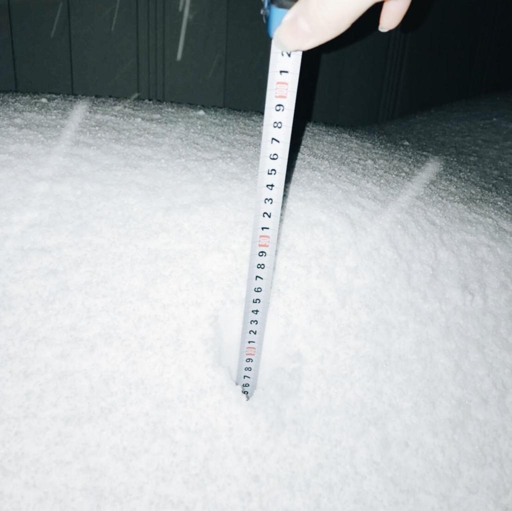 実家玄関前に積もった雪