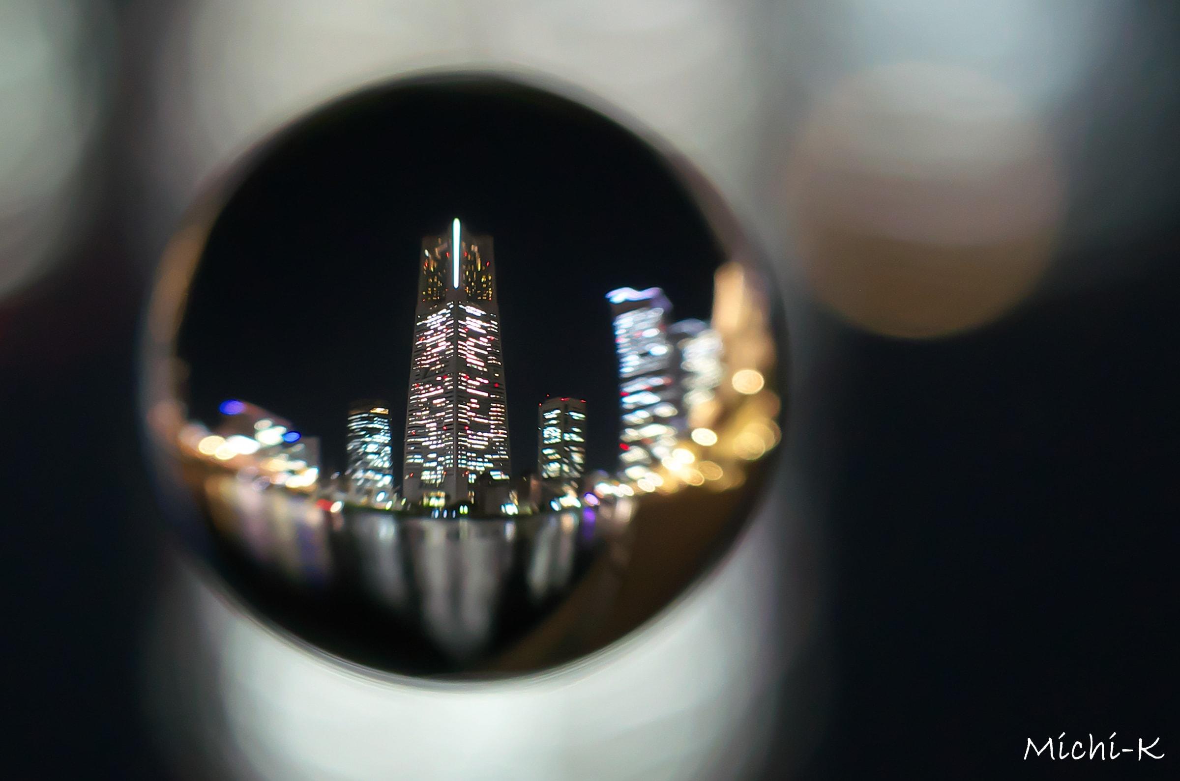 宙玉+横浜ランドマークタワーの夜景