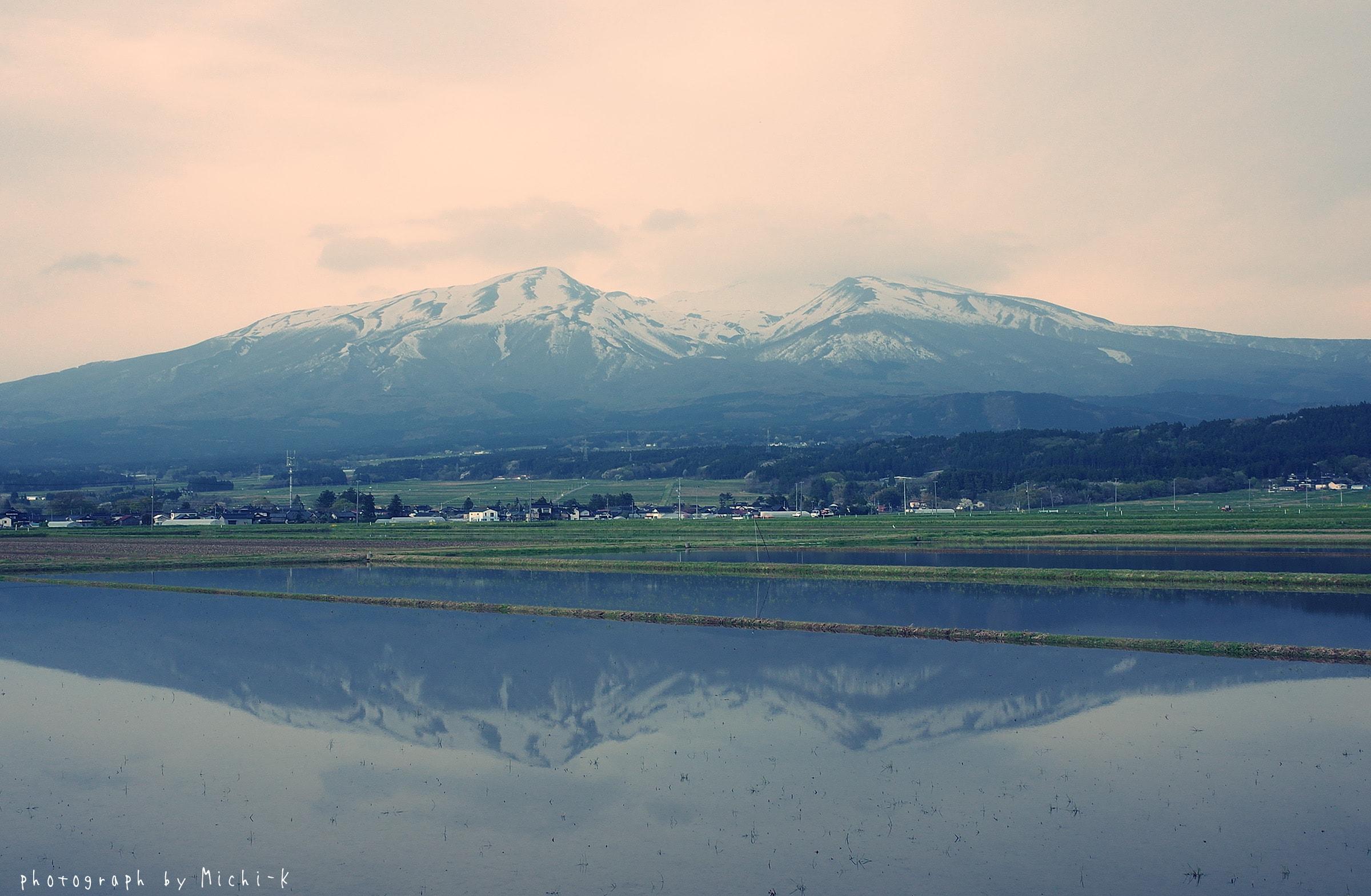 鳥海山、山形県遊佐町から臨んで。