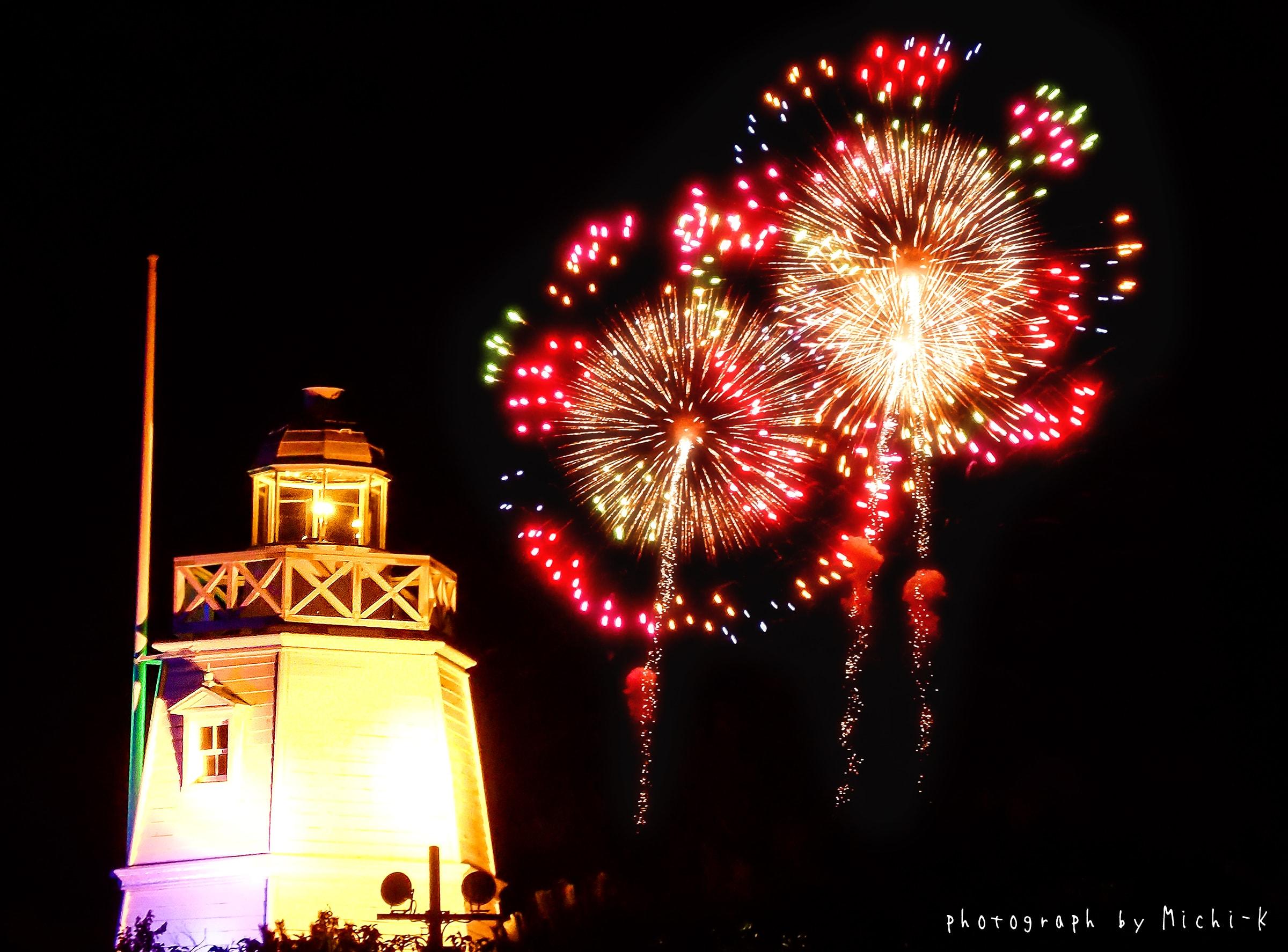 2017年8月5日の「酒田花火ショー」と日和山六角灯台2