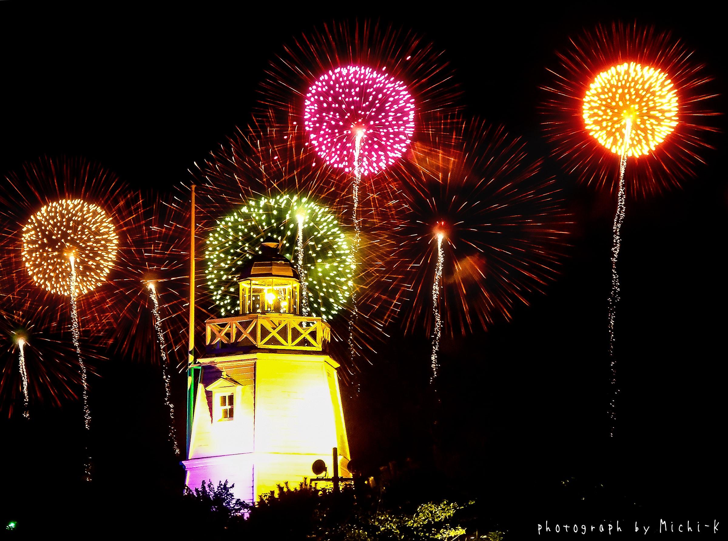 2017年8月5日の「酒田花火ショー」と日和山六角灯台3