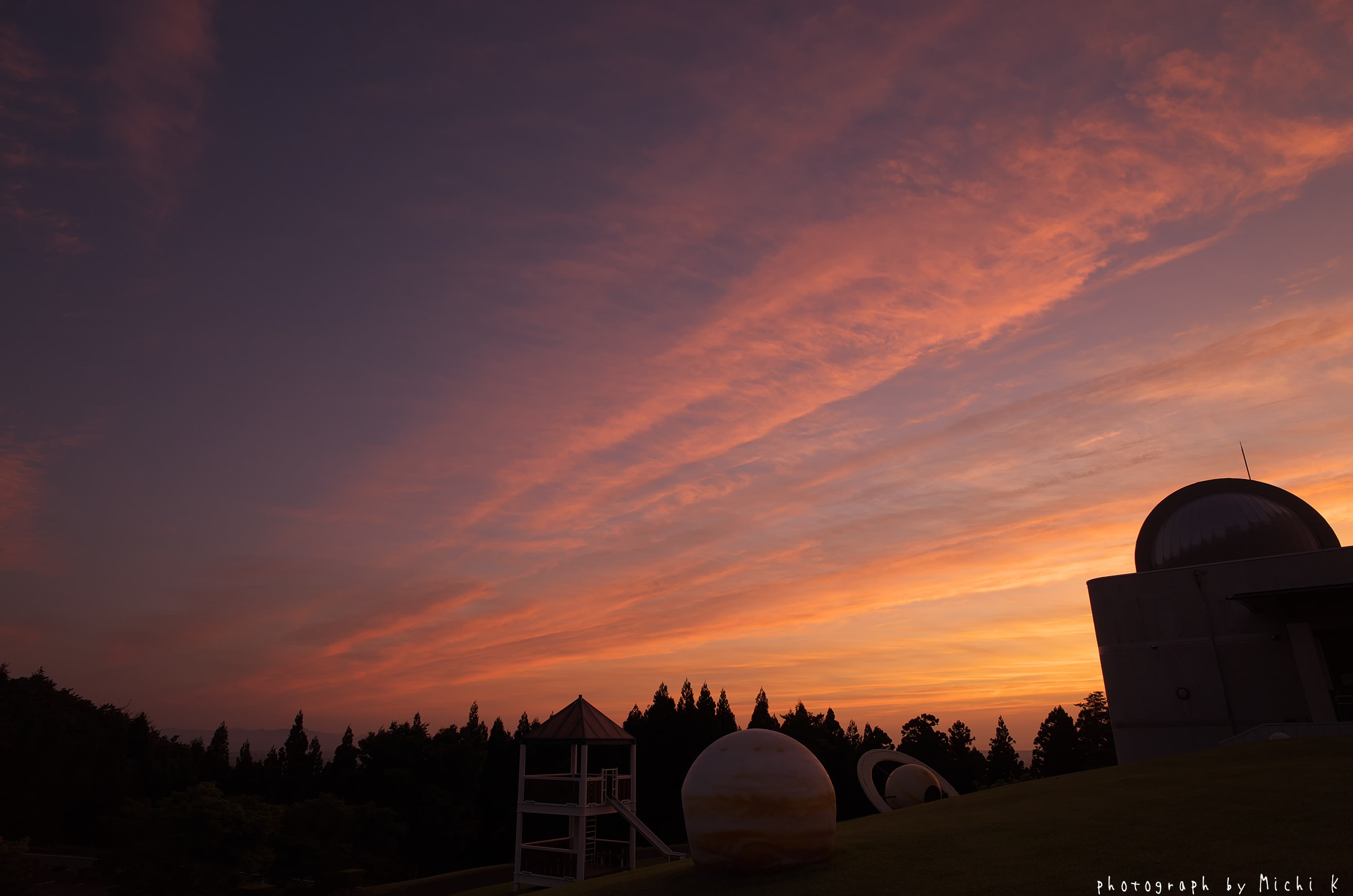 酒田市,、眺海の森天体観測館近くで見た夕焼け(写真その2)