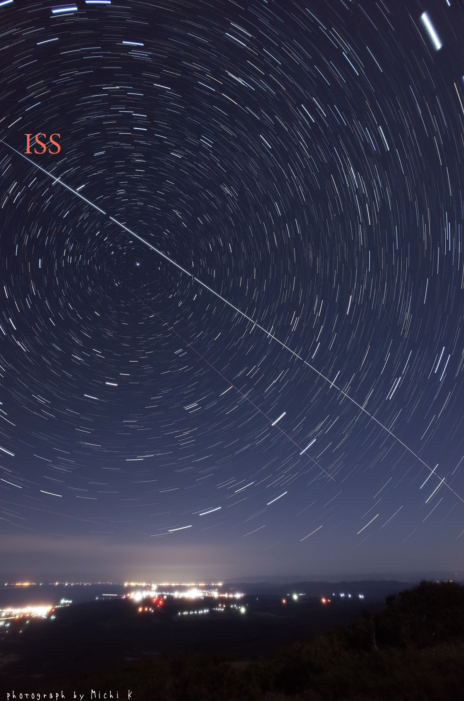 国際宇宙ステーション(ISS)の軌跡、 2018年9月3日の写真