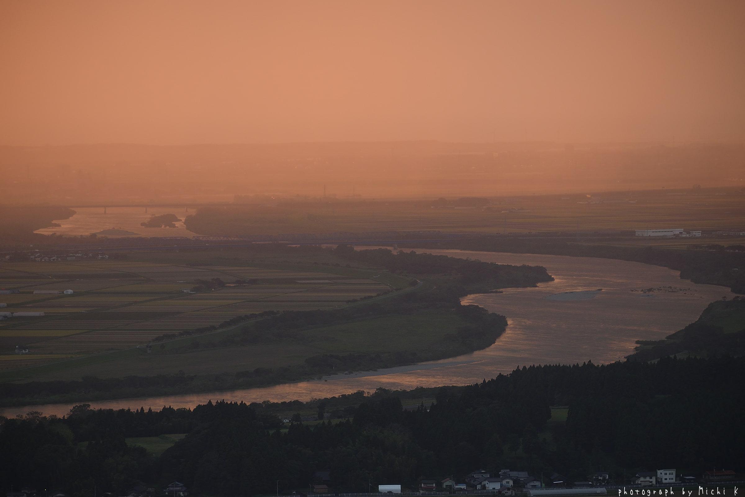 酒田市、眺海の森峰の薬師から撮影した夕焼け(その1)