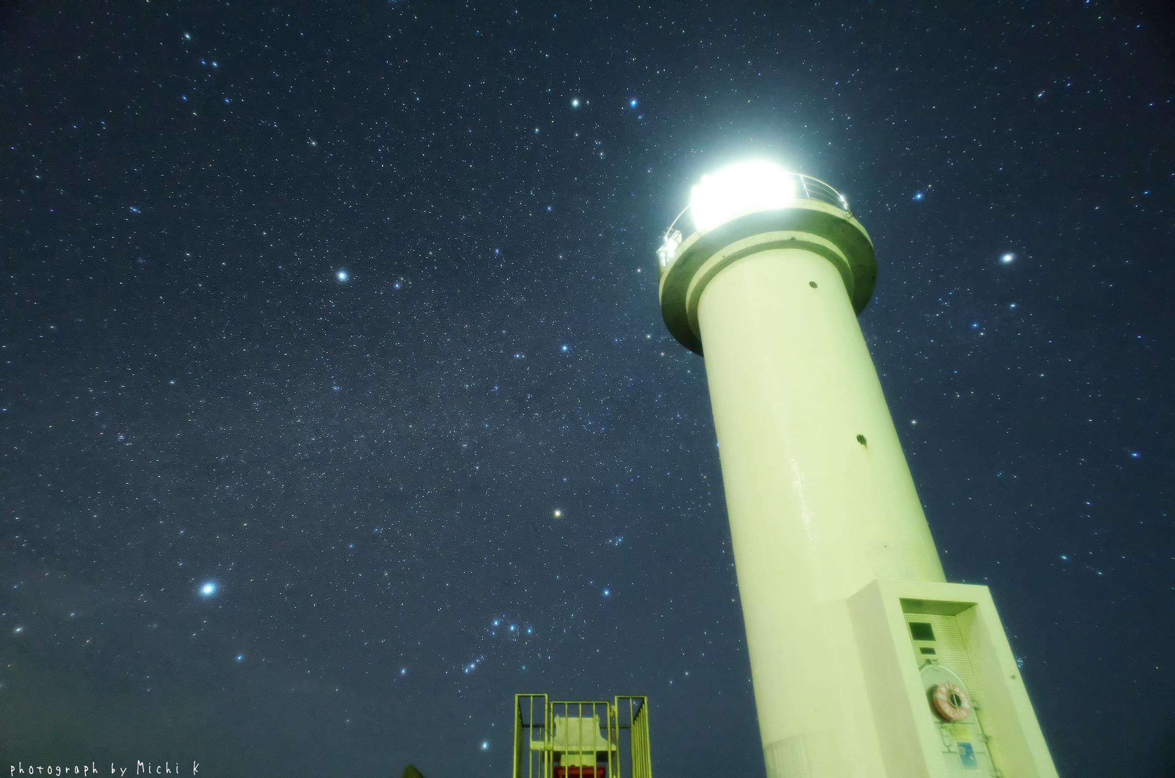 鼠ヶ関灯台とオリオン座(写真その4)