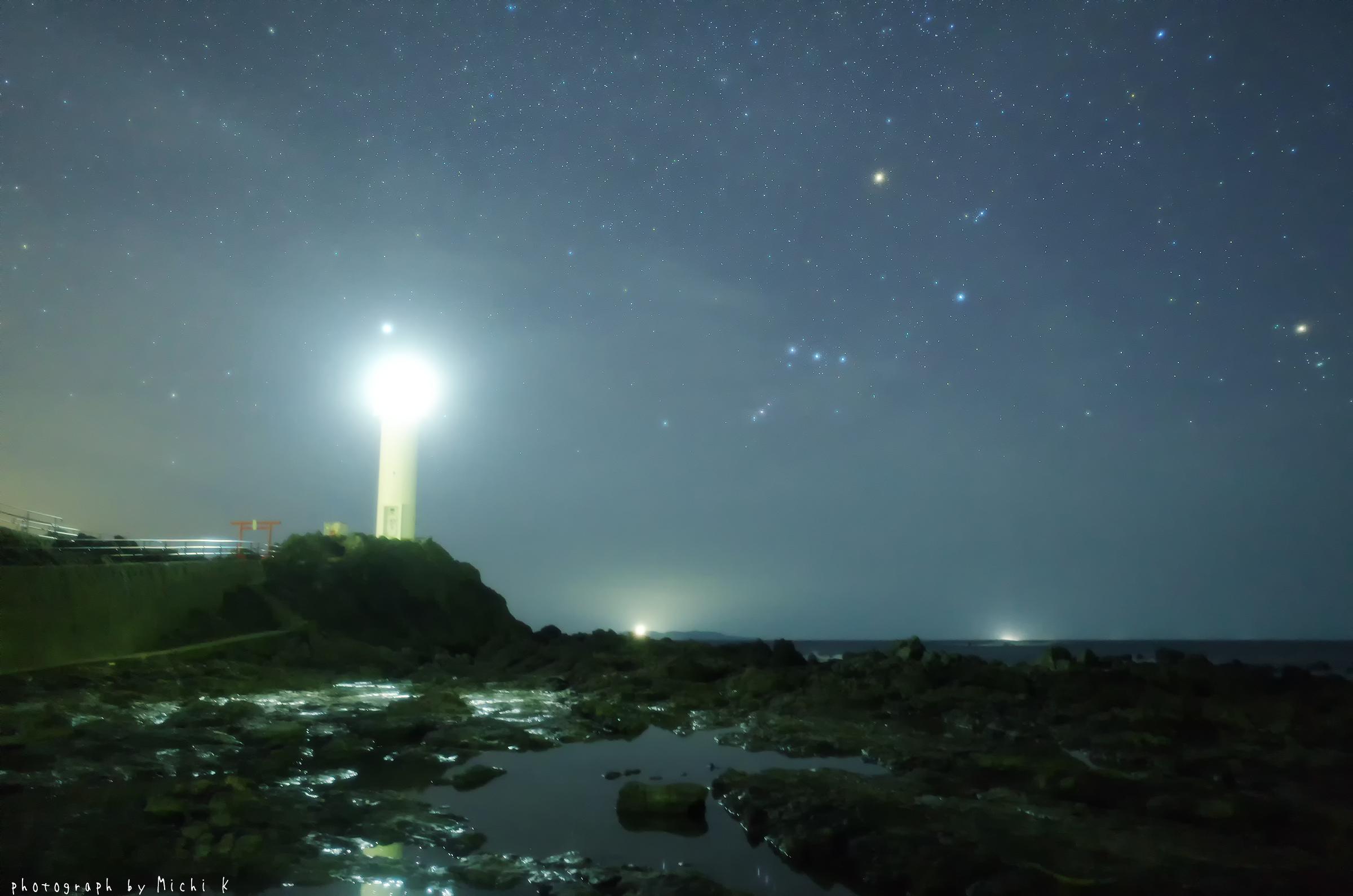 鼠ヶ関灯台とオリオン座(写真その5)