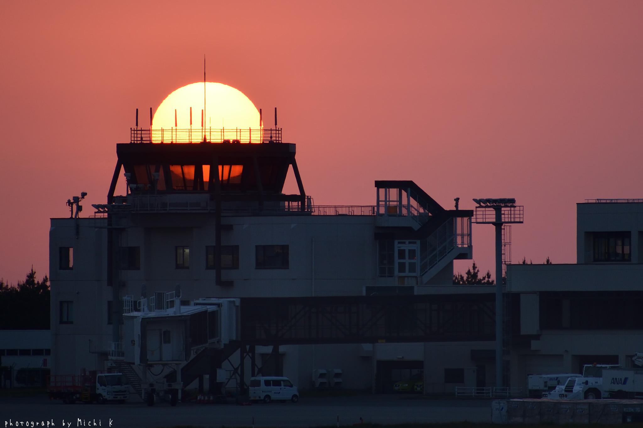 庄内空港緩衝緑地にて、夕焼け(写真その2)