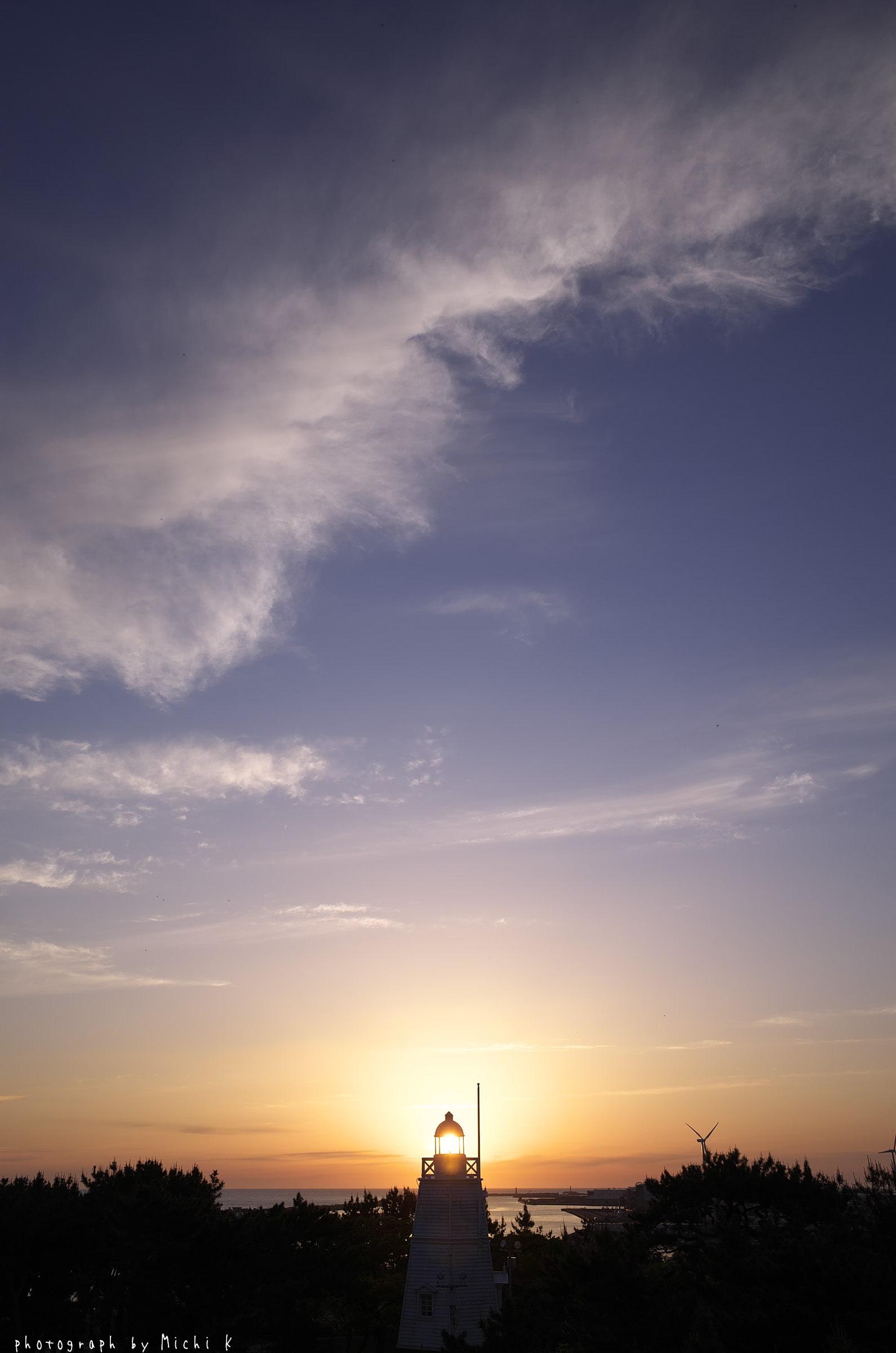酒田市・日和山から夕焼け(写真その1)