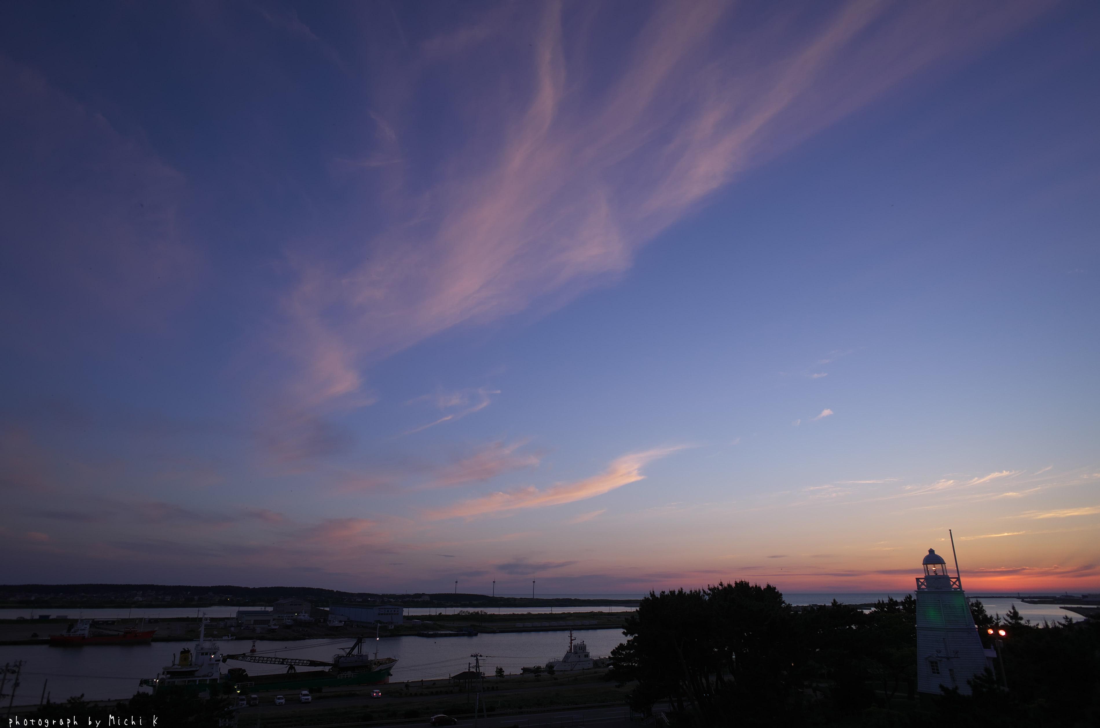 酒田市・日和山から夕焼け(写真その2)