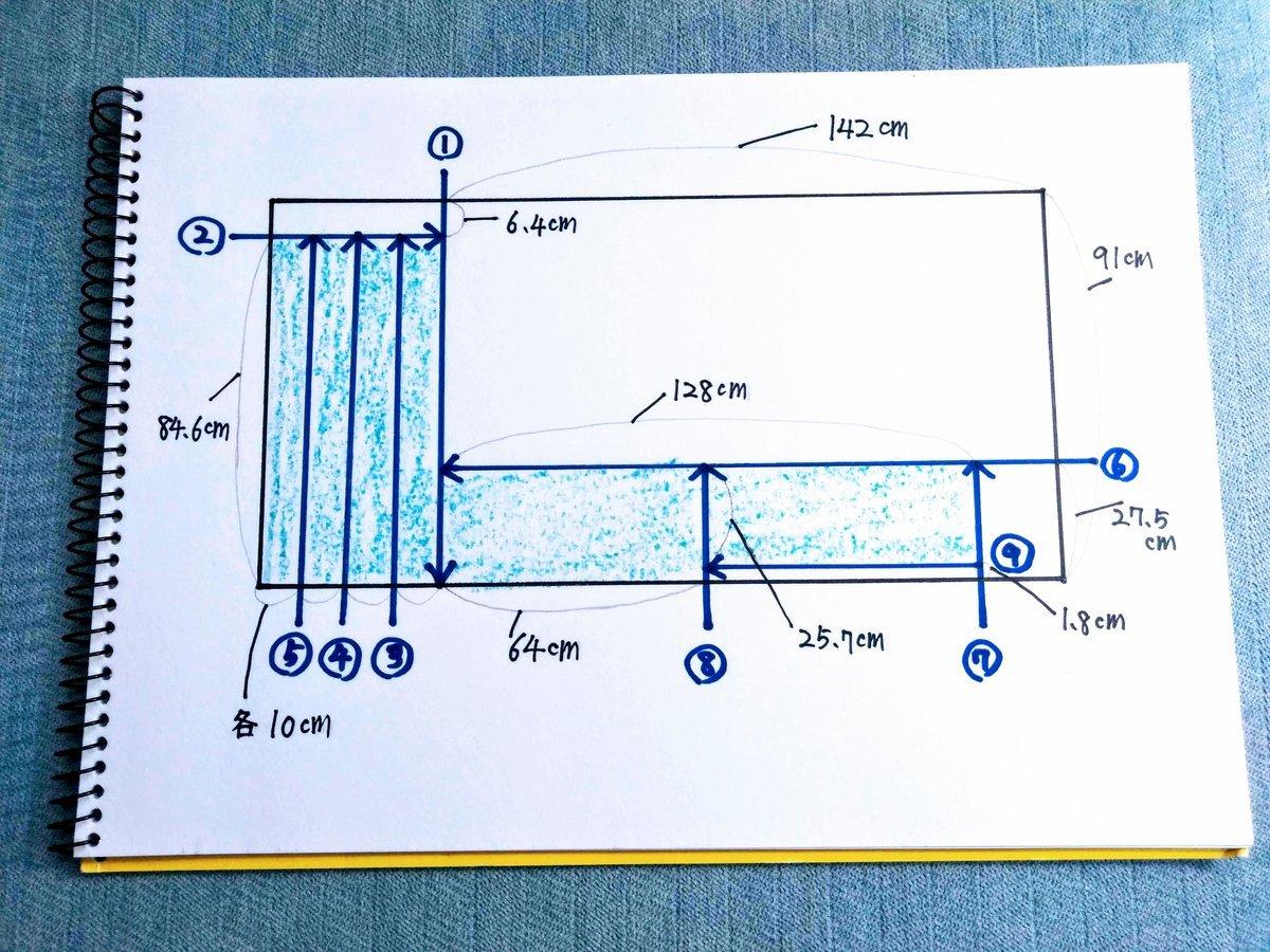棚作りで板をカットする手順の絵