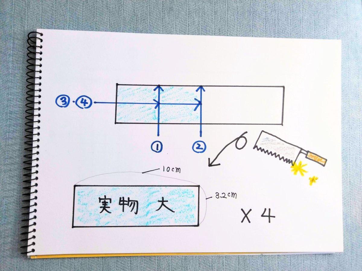 端材を切るイラスト図