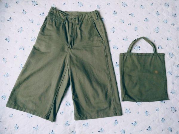 すそ直し後のパンツとハギレで作ったバッグ